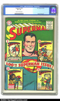 Golden Age (1938-1955):Superhero, Superman #100 (DC, 1955) CGC VF- 7.5 Cream to off-white pages. 100th issues always seem to generate an inordinate demand, an...