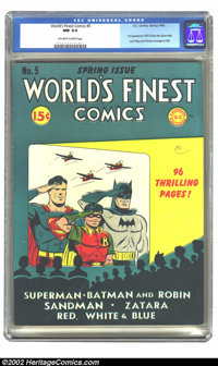 World's Finest Comics #5 (DC, 1942) CGC NM 9.4 Off-white to white pages. Offered here is the world's finest copy of this...