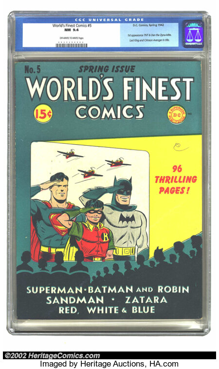 World's Finest Comics #5 (DC, 1942) CGC NM 9.4 Off-white to white pages. Offered here is the world's finest copy of this iss...