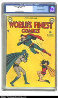 Golden Age (1938-1955):Superhero, World's Finest Comics #41 (DC, 1949) CGC NM- 9.2 White pages. No other copy of this issue has even attained a grade of Very ...