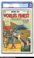 Golden Age (1938-1955):Superhero, World's Finest Comics #71 (DC, 1954) CGC VF- 7.5 Off-white to white pages. Superman and Batman begin their team-up series, e...