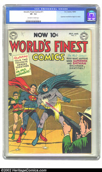 World's Finest Comics #71 (DC, 1954) CGC VF- 7.5 Off-white to white pages. Superman and Batman begin their team-up serie...