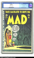 Golden Age (1938-1955):Humor, Mad #1 (EC, 1952) CGC VF/NM 9.0 Off-white to white pages. Mad is now 50 years old, and this is the one that started it a...