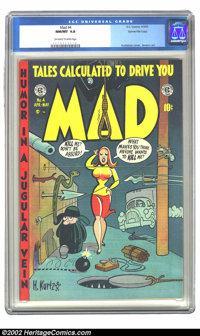 Mad #4 Gaines File pedigree 5/12 (EC, 1953) CGC NM/MT 9.8 Off-white to white pages. Harvey Kurtzman's over-the-top satir...