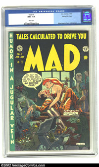 Mad #5 Gaines File pedigree 4/12 (EC, 1953) CGC NM+ 9.6 White pages. Bill Elder created an instant masterpiece with this...