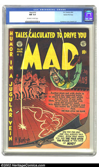 Mad #10 Gaines File pedigree 3/12 (EC, 1954) CGC NM 9.4 Off-white to white pages. Harvey Kurtzman created another one of...