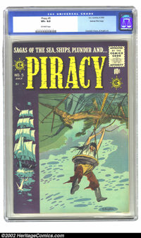 Piracy #5 Gaines File pedigree 1/12 (EC, 1955) CGC VF+ 8.5 Off-white pages. Cover creator Bernie Krigstein was the last...