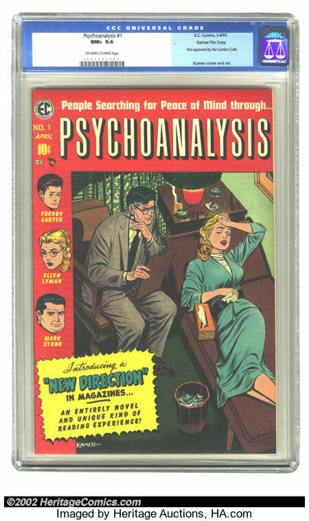 Psychoanalysis #1 Gaines File pedigree 1/12 (EC, 1955) CGC NM+ 9.6 Off-white to white pages. This Gaines file copy was deeme...