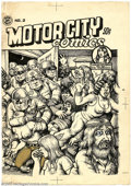 Original Comic Art:Covers, Robert Crumb - Original Cover Art for Motor City Comics #2 (Rip Off Press, 1970). It's Lenore Goldberg and her girl commando...