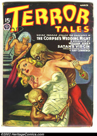 "Terror Tales (Pulp) March 19403 (Popular, 1940) Condition: VF-. These Egyptologists got a little too ""wrapped up&qu..."