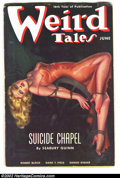 """Pulps:Horror, Weird Tales (Pulp) June 1938 """"Suicide Chapel"""" (Popular Fiction,1938) Condition: FN-VF. This lovely lass is in quite a fix, ..."""