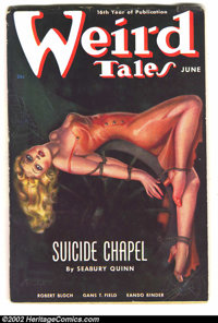"""Weird Tales (Pulp) June 1938 """"Suicide Chapel"""" (Popular Fiction, 1938) Condition: FN-VF. This lovely lass is in..."""