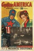 "Movie Posters:Serial, Captain America (Republic, 1944). One Sheet (27"" X 41).Starring:Dick Purcell. Fine on Linen...."