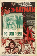 """Movie Posters:Serial, Batman, The (Columbia, R-1954).One Sheet (27"""" X 41"""")Chapter 6""""Poison Peril"""".Starring Lewis Wilson, Douglas Croft. Nice inse..."""