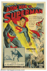 "Atom Man vs. Superman (Columbia, 1950).One Sheet (27"" X 41""). Starring: Kirk Alyn, Noel Niell. Very nice seria..."