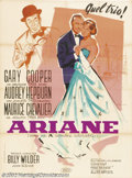 """Movie Posters:Romance, Love In The Afternoon (Allied Artists, 1957).French (47"""" X 63""""). Dir.Billy Wilder. Starring: Audrey Hepburn, Gary Cooper, Ma..."""