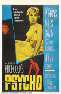 """Psycho (Paramount, 1960).One Sheet (27"""" X 41""""). Dir. Alfred Hitchcock. Starring: Janet Leigh, Anthony Perkins..."""