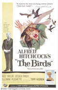 """Movie Posters:Horror, Birds, The (Universal, 1963).One Sheet (27"""" X 41"""").Dir. Alfred Hitchcock. Starring: Tippi Hedren,Rod Taylor. Very Fine/Near ..."""