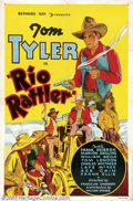 "Movie Posters:Western, Rio Rattler (William Steiner, 1935).One Sheet (27"" X 41"").Dir:Bernard Ray. Starring: Tom Tyler. Fine on Linen. Old linen ba..."
