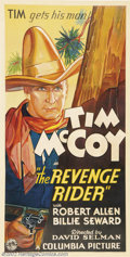"Movie Posters:Western, Revenge Rider, The (Columbia, 1935).Three Sheet (41"" X 81""). Dir.David Selman. Starring: Tim McCoy. Very Fine+ on Linen. ..."