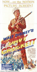 "Movie Posters:Western, Davy Crockett (Buena Vista, 1955). Three Sheet (41"" X 81""). Theimpact of television on feature films in the 1950s was huge..."