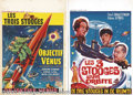 """Movie Posters:Comedy, Three Stooges Belgian Posters Lot (Columbia, 1962).(2) BelgianPosters (14"""" X 22""""). Starring: The Three Stooges.Fine/Very Fi..."""