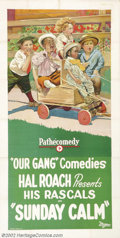 "Movie Posters:Comedy, Sunday Calm (Pathe', 1923).Three Sheet (41"" x 81""). Prod. HalRoach. Dir. Robert McGowen. Starring: Our Gang. Very Fine+ on ..."