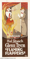 "Movie Posters:Comedy, Flaming Flappers (Pathe', 1923). Three Sheet (41"" x 81""). Prod. HalRoach. Starring: Glenn Tyron. Near Mint on Linen. ..."