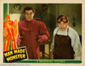 "Movie Posters:Horror, Man Made Monster (Universal, 1941). Lobby Card (11"" X 14""). Dir.George Waggner. Starring: Lon Chaney,Jr., Lionel Atwell. Ver..."
