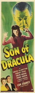 """Movie Posters:Horror, Son of Dracula (Universal, 1943).Insert (14"""" X 36""""). Starring: Lon Chaney, Jr., Evelyn Ankers. Very Fine on Paper. ..."""