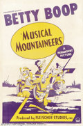 "Movie Posters:Animated, Betty Boop in The Musical Mountaineers (Paramount, 1939).One Sheet(27"" X 41""). Starring: Betty Boop. Though produced during..."