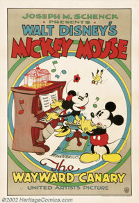 "Wayward Canary,The (United Artists, 1932).One Sheet (27"" X 41""). Dir. Burt Gillett. Starring: Mickey Mouse, Mi..."