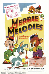 "Merrie Melodies (Warner Brothers, 1940).One Sheet (27"" X 41""). Warner Brothers stock cartoon sheet with the fi..."