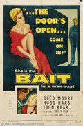 "Movie Posters:Film Noir, Bait (Columbia, 1954).One Sheet (27"" X 41"").Dir. Hugo Haas.Starring: Cleo Moore, Hugo Haas. Fine. ..."