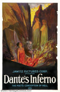 "Movie Posters:Fantasy, Dante's Inferno (Jawitz Pictures Corp., 1921).One Sheet (27"" X 41"").American distribution of Italian film called""Dante nella..."
