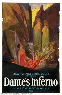 """Dante's Inferno (Jawitz Pictures Corp., 1921).One Sheet (27"""" X 41"""").American distribution of Italian film call..."""