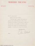 Movie Posters:Miscellaneous, Orson Welles Autographed Letter (undated). Generally regarded as one of the finest director/filmmakers who ever lived, Orson...