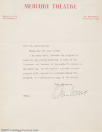 Orson Welles Autographed Letter (undated). Generally regarded as one of the finest director/filmmakers who ever lived, O...