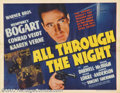"Movie Posters:Action, All Through the Night (Warner Brothers, 1942).Half Sheet (22"" X 28""). Very Fine. Folded. ..."
