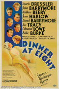 "Movie Posters:Comedy, Dinner at Eight (MGM, 1933). One Sheet (27"" X 41"") Based on a playby George Kaufman and Edna Ferber, this film was producer..."