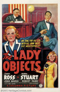 """Movie Posters:Drama, Lady Objects, The (Columbia, 1938).One Sheet(27"""" X 41""""). Starring: Gloria Stuart, Lanny Ross. Very Fine+. ..."""
