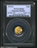 Commemorative Gold: , 1915-S G$1 Panama-Pacific Gold Dollar MS65 PCGS. The ...