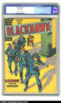 Golden Age (1938-1955):War, Blackhawk #13 (Quality, 1946) CGC VG+ 4.5 Off-white to white pages.Reed Crandall art. Overstreet 2002 GD 2.0 value = $77; F...