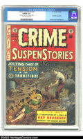 "Golden Age (1938-1955):Crime, Crime SuspenStories #15 (EC, 1953) CGC FN/VF 7.0 Cream to off-white pages. CGC notes: ""'Ray Bradbury' written on 5th page in..."