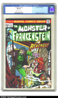 Bronze Age (1970-1979):Horror, Frankenstein #3 (Marvel, 1973) CGC NM 9.4 Off-white to white pages.Overstreet 2002 NM 9.4 value = $22....