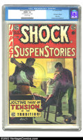 """Golden Age (1938-1955):Horror, Shock SuspenStories #16 (EC, 1954) CGC FN/VF 7.0 Off-white pages.CGC notes: """"Name/address stamp on 1st page"""". """"Red Dupe"""" ed..."""