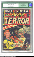 "Golden Age (1938-1955):Horror, Three Dimensional Tales from the Crypt of Terror #2 (EC, 1954) CGCQualified VG+ 4.5 Off-white pages. CGC notes: ""Glasses mi..."