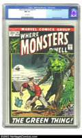 Bronze Age (1970-1979):Horror, Where Monsters Dwell #14 (Marvel, 1972) CGC NM 9.4 White pages.Overstreet 2002 NM 9.4 value = $15....