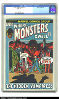Bronze Age (1970-1979):Horror, Where Monsters Dwell #17 (Marvel, 1972) CGC NM 9.4 off-white pages.Overstreet 2002 NM 9.4 value = $15....