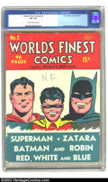 Golden Age (1938-1955):Superhero, World's Finest Comics #2 (DC, 1941) CGC VG- 3.5 Cream to off-white pages. Overstreet 2002 GD 2.0 value = $423; FN 6.0 value ...